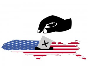 hand voting in American election with map and flag of USA illust