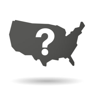 Illustration of an isolated USA map icon with a question sign