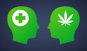 Illustration of a head set with a marijuana leaf and a pharmacy sign