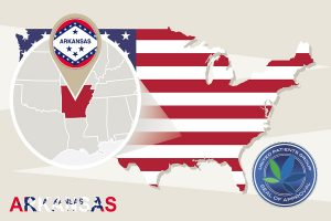 Usa Map With Magnified Arkansas State. Arkansas Flag And Map.