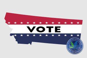 Vote Montana State Map Outline. Patriotic Design Element To Enco