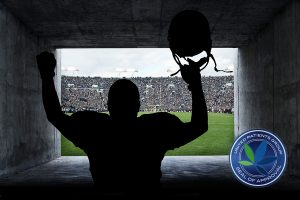 Football Player running out of the Stadium Tunnel